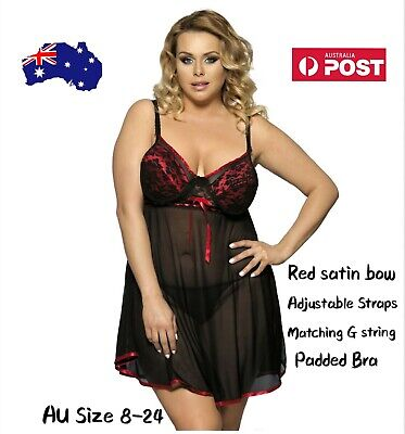 Babydoll Black & Red Padded Underwire Satin Mesh 2Pc Lingerie Set - Plus Sz12-20