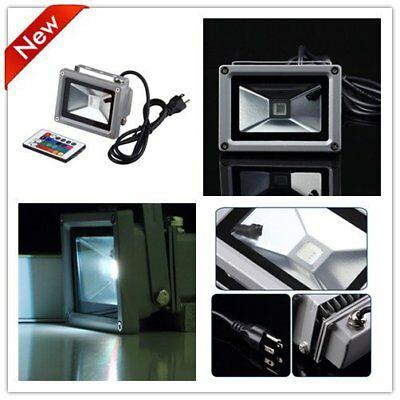 Remote Control 10W 12/85/265V LED Flood Light Lamp Floodlight Waterproof LOT F&