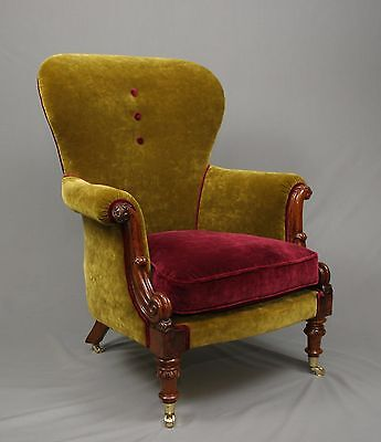 Antique William the IV Walnut Armchair fully restored and reupholstered