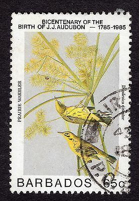 1985 Barbados 65c Birth Bicent J J Audubon Warbler SG785 FINE USED R31755