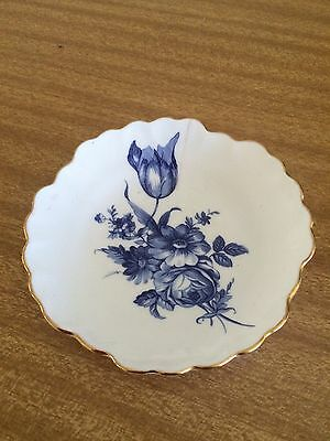 "Royal Adderley Pin Dish ""floral"" Bone China England blue white Gold gilding"
