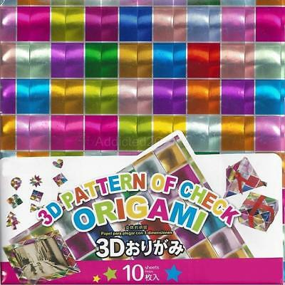 3D Metallic Foil Holographic Hologram JAPANESE ORIGAMI PAPER Chiyogami 15cm
