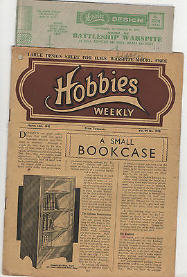 Hobbies Weekly + Plan For A Model Of H.m.s,warspite & Much More 14/3/45