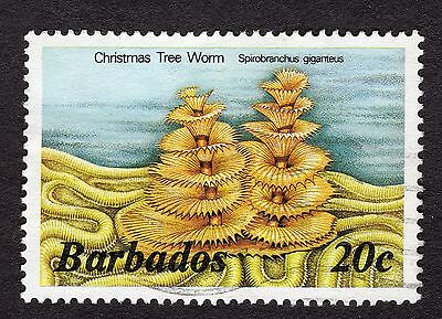 1985 Barbados 20c Christmas tree worm SG767b GOOD USED R31735
