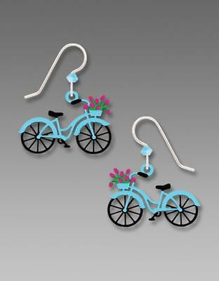 Sienna Sky Earrings Sterling Silver Hook Bike Flowers in Basket Handmade 1956