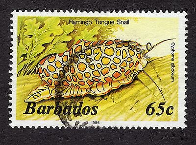 1986 Barbados 65c Flamingo tongue snail GOOD USED R31770