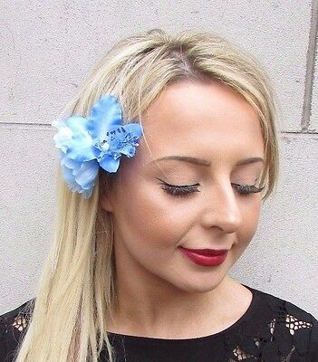 Double Sky Light Blue Orchid Peony Flower Hair Clip Fascinator 1950s Rose 3515