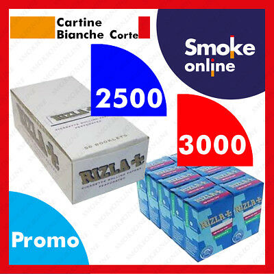2500 (1box) Cartine RIZLA BIANCHE Corte e 3000 (2box) Filtri Rizla Slim 6mm