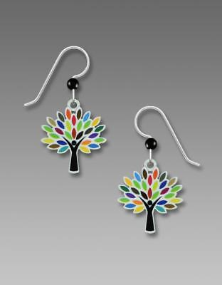 Sienna Sky Earrings Sterling Silver Hook Tree With Multi-Colored Leaves Handmade