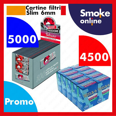 Cartine 5000 ENJOY FREEDOM SILVER CORTE e 4500 Filtri RIZLA SLIM 6mm Accendino