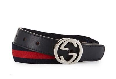 Gucci Kids Adjustable Belt In Blue Size S(21.7 Inches) Retail Price $150