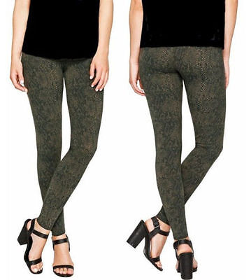 b2464da7920c71 NWOT Ladies' Matty M Wide Waistband Thick Leggings Army Snakeskin Green  Variety