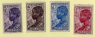 Ivory Coast stamps. 1936. 117, 118, 120, 121. MH. Lot 1