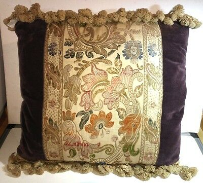 Cushion with Antique Fabric Panel Piece and interior Feather Pad