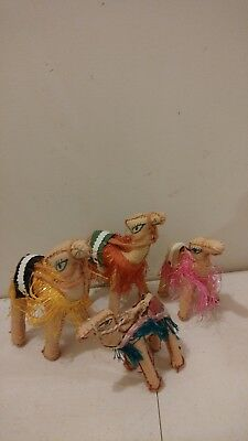 Vintage Camel family Figurine Leather/Vinyl Very Good condition lot of 4
