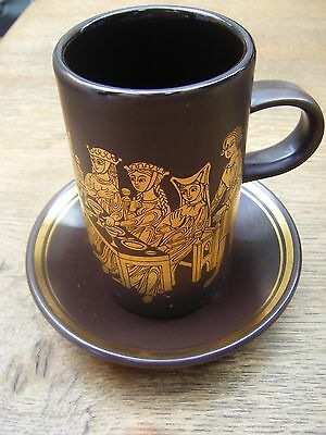 RETRO PURBECK POTTERY BROWN /GOLD MEDIEVAL COFFEE MUG & SAUCER - Banquet