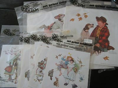 LOT Of FOURTEEN Vintage NORMAN ROCKWELL Print for DECOUPAGE - 1970's - 2 SIZES