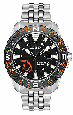 Mens Citizen Eco-Drive Stainless Steel Black Dial Date Compass Watch AW7048-51E