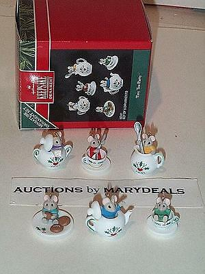1991 Hallmark Miniature Ornament 6Pc Set Tiny Tea Party Mice Porcelain Mouse Mib