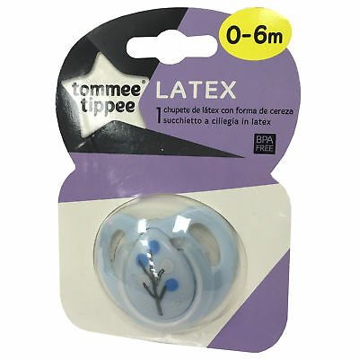 TOMMEE TIPPEE 0-6 month Blue Cherry Latex Baby Soother Pacifier Dummy BPA Free