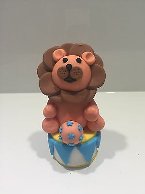 Fondant 3D Circus Lion With Ball And Podium Base, Fondant Circus Cake Topper.