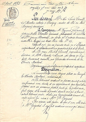 1883 Antique Vintage French Document Beautiful Handwriting Script & Tax Stamp
