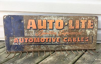 Auto Lite Brakes Hoses Belts Gas Oil Station Tin Sign Key Rack Hanger Vtg Metal