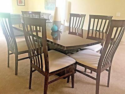 Italian Tiger Mahogany Dining Table and Chairs