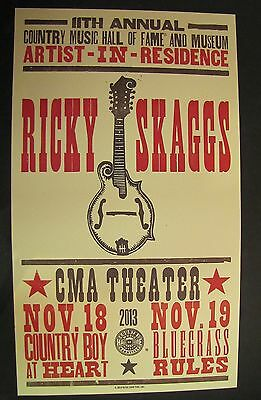 Ricky Skaggs 2013 Nashville Hatch Show Print Poster CMA Theater November 18 & 19