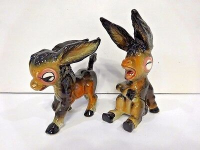 ***donkey Figurines (2) Ceramic Made In Japan Vintage-R