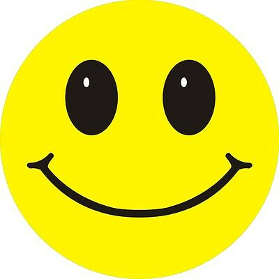 Smiley Face stickers Pack of 3  6cm Retro Acid House self adhesive decal