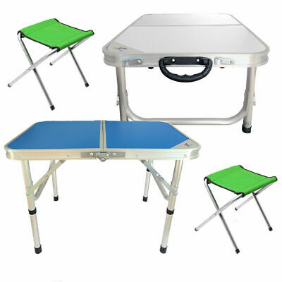 Portable Folding Table Chairs Camping BBQ Aluminum Foldable Desk 2pcs Chairs NEW