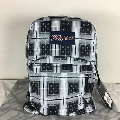 Jansport Superbreak Backpacks Black Arcade Plaid AUTHENTIC School backpack bags