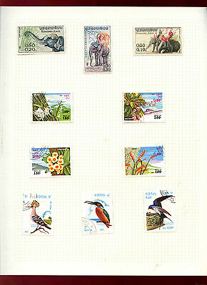 Laos Album Page Of Stamps #V5529