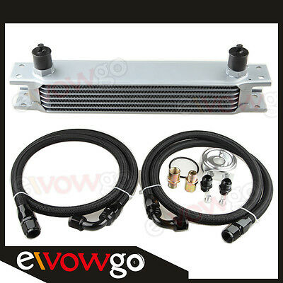 7-ROW ALUMINUM ENGINE OIL COOLER+RELOCATION KIT+Nylon Cover Braided LINES