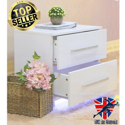 Bedside Table Cabinet With 2 Drawers Free LED Light High Gloss Nightstand White