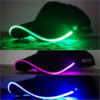 LED Light Up Baseball Cap Hat - Illuminated-Apparel - Blue, Green or Purple