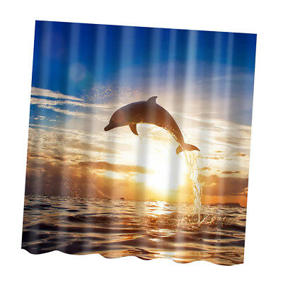 180x180cm Dolphin Print Shower Curtain Bathroom Fabric Hanging Sheer Decor
