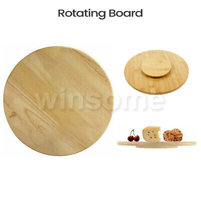 Rotating Wooden Tray Round Lazy Susan Turntable Serving Solid Plate Pizza Board