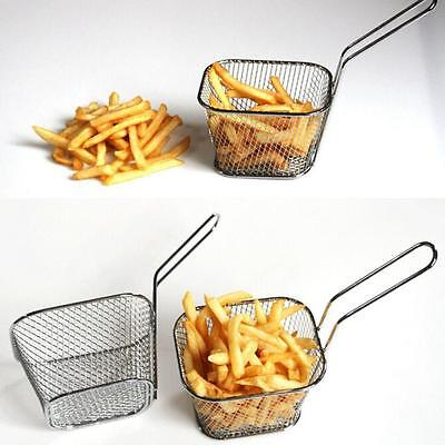 French Fries Holder Oil Frying Net Square Block Fast Food Maker Electroplate Kit