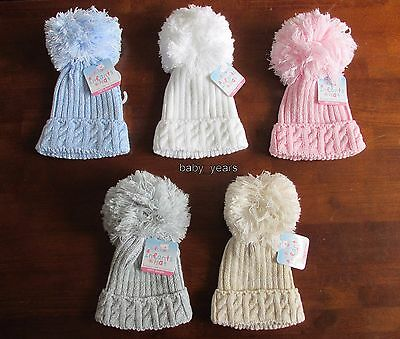 Baby Knitted Pom Pom Hats Bobble White Pink Blue Grey Boys Girls Winter 0-12 Mth