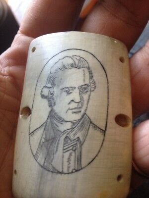 Antique Scrimshaw Carving Portrait Of Captain James Cook