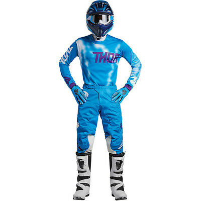 2018 Thor Pulse Air Vented Jersey Pant Kit Motocross 32 34 36 38 Radiate Blue