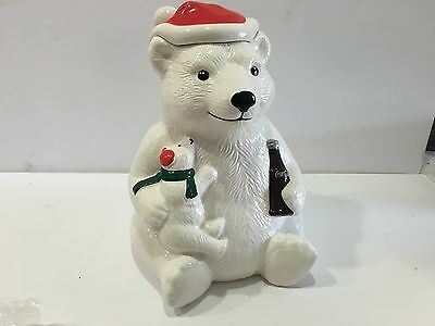 Teleflora Coca Cola 1998 Polar Bear Cookie Jar Flower Vase