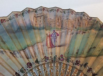 19thC hand painted silk fan, signed, bone sticks with sequin & gilt decoration