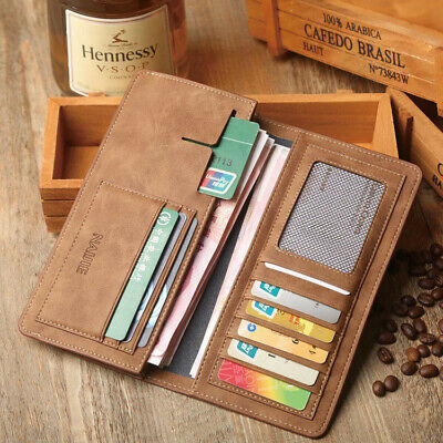 Men's Bifold Leather Breast Pocket Card Holder Purse Suit Long Wallet Checkbook