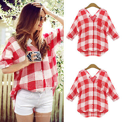 UK Women Long Sleeve Checked T Shirt Ladies Summer Button Down Tops Blouse  6-22
