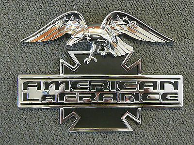 Americn LaFrance Emblem Nameplate, Eagle, Chrome Plated Plastic, Adhesive, NEW