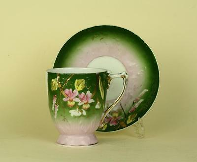 Antique Imperial Russian Porcelain Handpainted Floral Cup and Saucer Kuznetsov