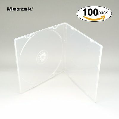Maxtek 5.2mm CD/DVD Cases Clear Cover 100PC Storage Set Single Tray Case